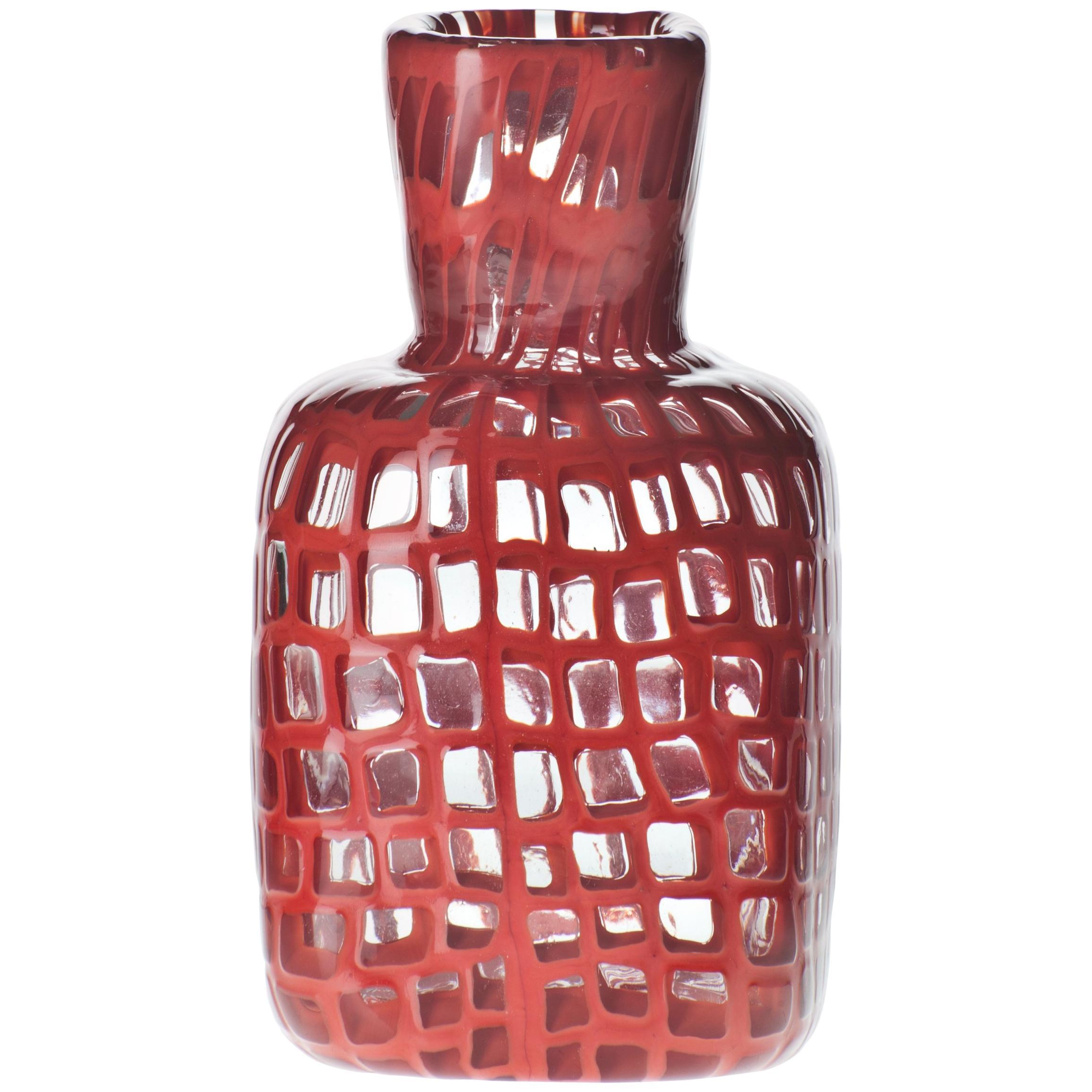 Venini Square Occhi Vase in Red by Ludovico Diaz de Santillana, Tobia Scarpa