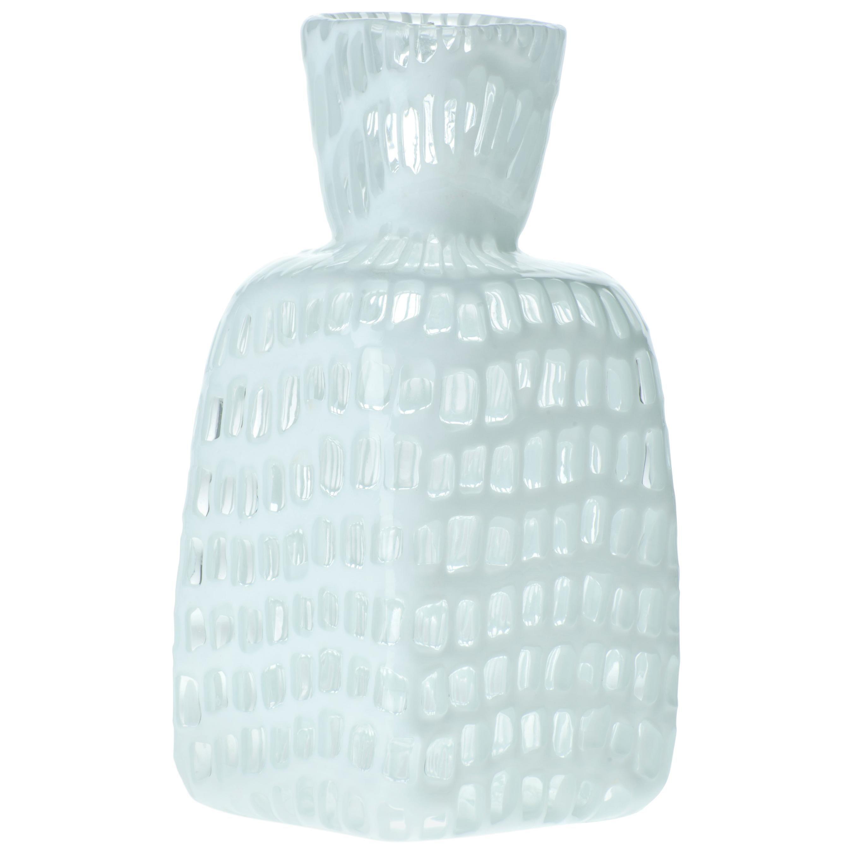 Venini Square Occhi Vase in White by Ludovico Diaz de Santillana, Tobia Scarpa