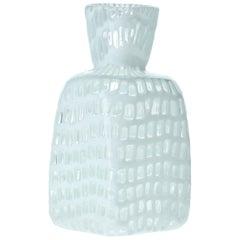 Quadratische weiße Occhi Vase von Ludovico Diaz de Santillana, Tobia Scarpa, Venini