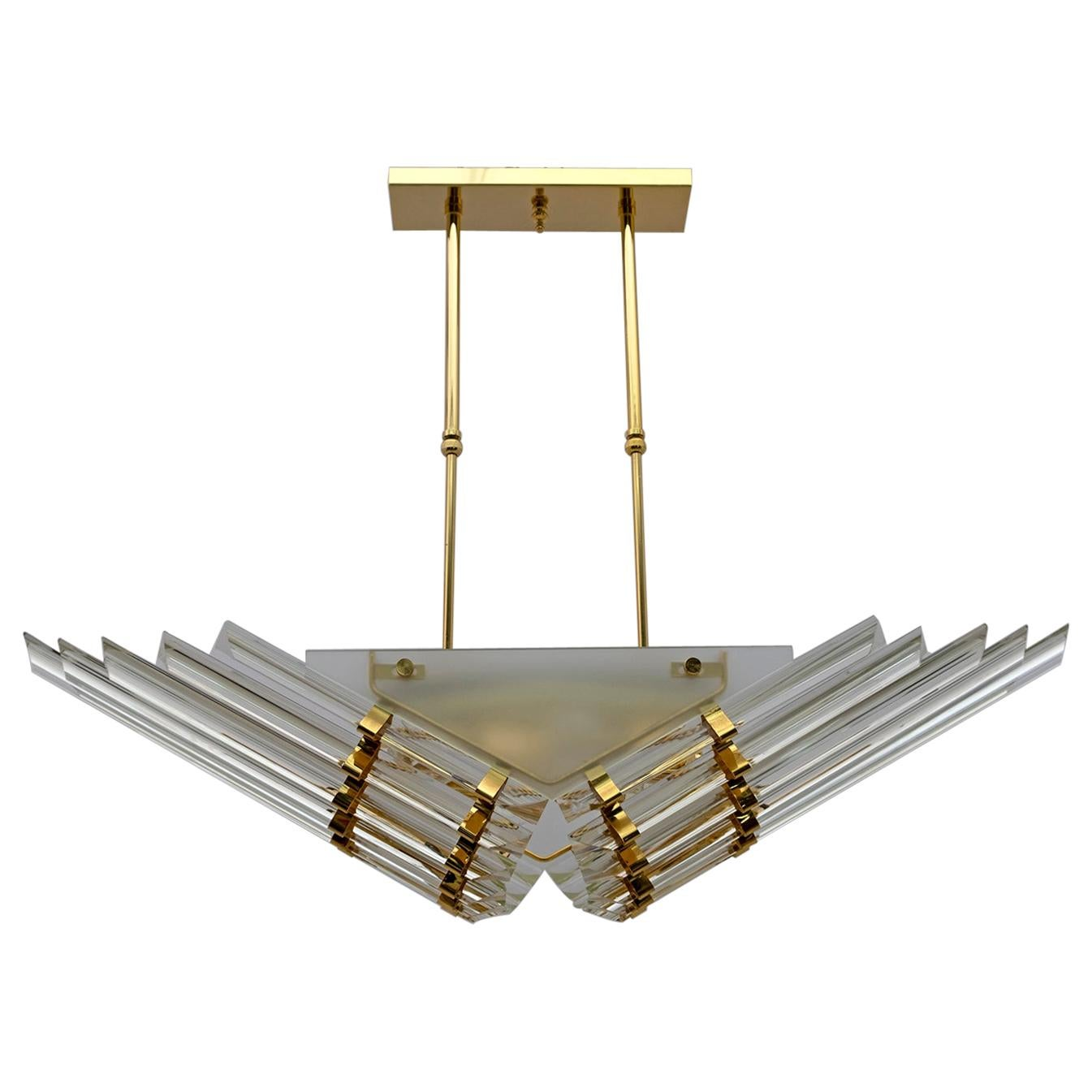 "Venini Stily Modern Italian Brass and Murano Glass ""Triedri"" Chandelier, 1980s"