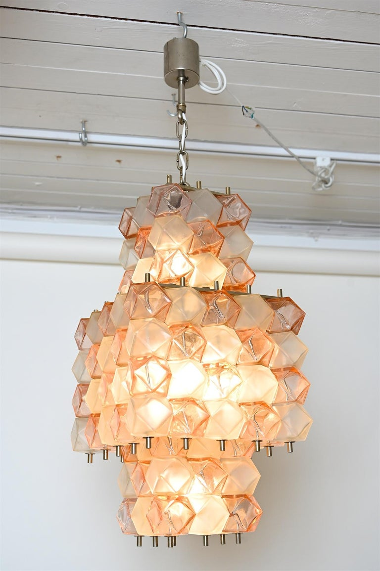 Similar to the Venini Poliedri chandeliers, Italy, circa 1950s