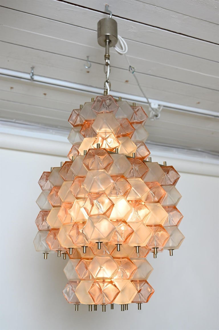 Mid-Century Modern Venini Style Chandelier, Italy, circa 1950 For Sale