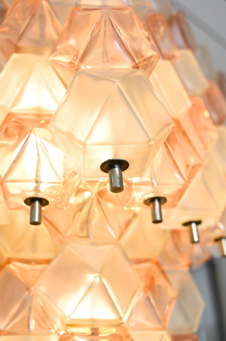 Blown Glass Venini Style Chandelier, Italy, circa 1950 For Sale