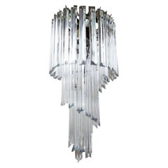 Venini Style Clear Murano Glass Prism Spiral Chandelier