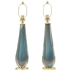 Venini Style French Blue Murano Glass Lamps