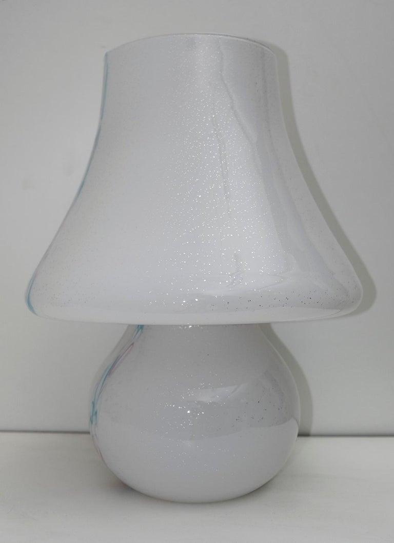 Venini Style Modern Italian Murano Glass Mushroom Table Lamp, 1980s For Sale 1