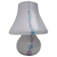 Venini Style Modern Italian Murano Glass Mushroom Table Lamp, 1980s