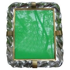 Venini Style Murano Glass and Brass Picture Frame, Circa 1940