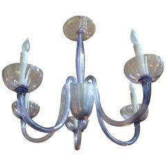 Venini Style Murano Glass Chandelier Violet or Lavender Colored