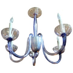 Venini Style Murano Glass Chandelier Violet or Lavender Colored