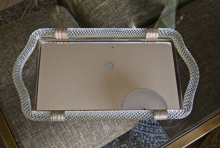 Brass Venini Style Murano Twisted Rope Glass Vanity Tray For Sale