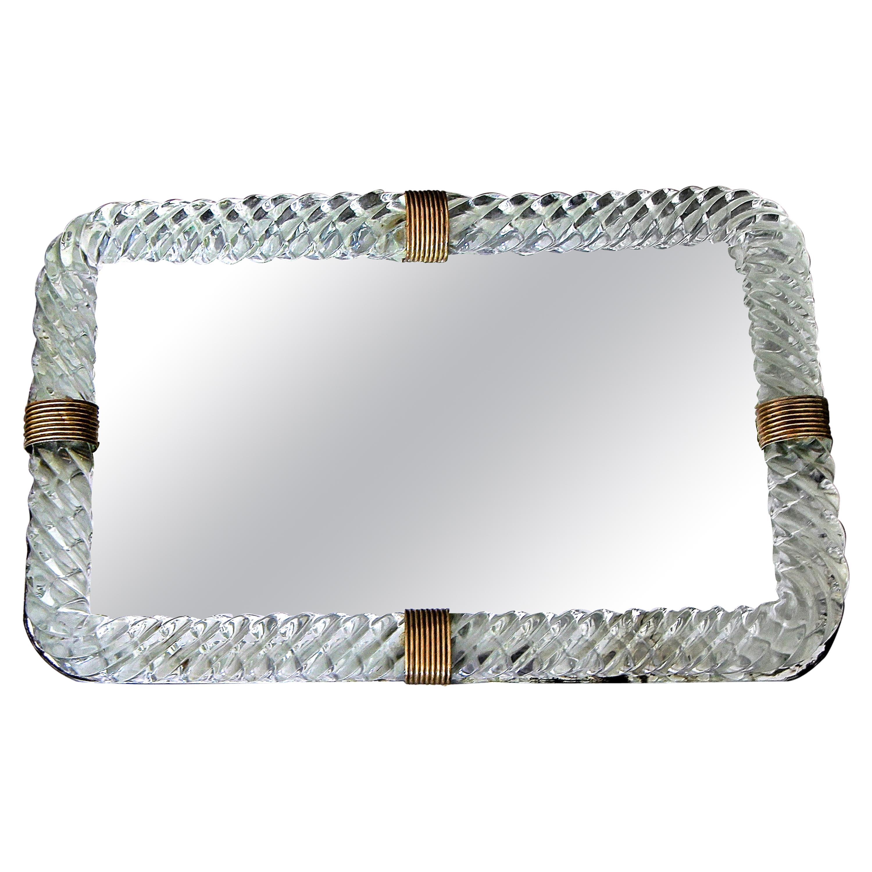 Venini Style Murano Twisted Rope Glass Vanity Tray