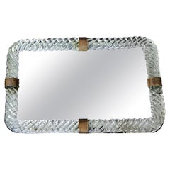 Venini Style Murano Twisted Rope Glass Vanity Tray
