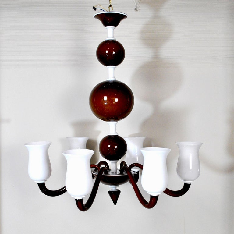 Mid-20th Century Venini Suspension Lamp a Variant of Model N. 99.41 For Sale