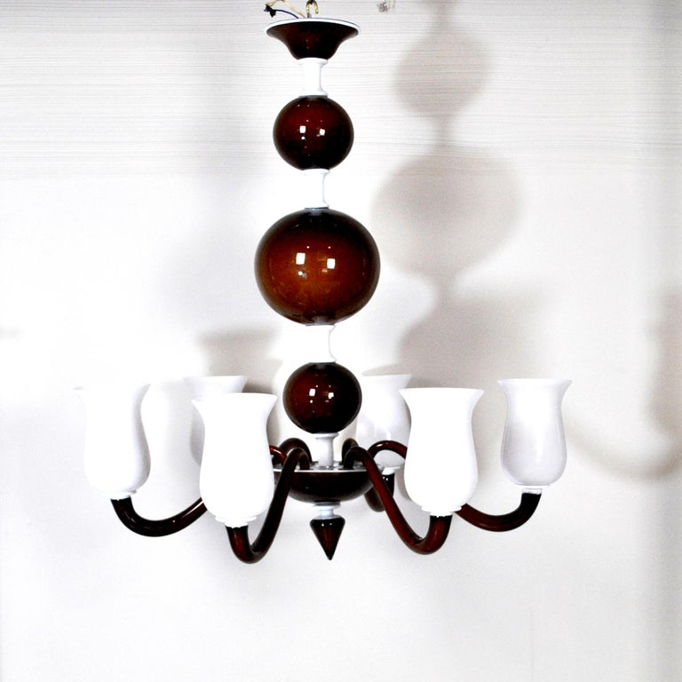 Murano Glass Venini Suspension Lamp a Variant of Model N. 99.41 For Sale