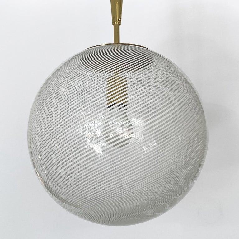 Mid-20th Century Italian Swirl Glass Globe and Brass Pendant Chandelier For Sale
