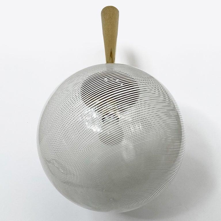 Italian Swirl Glass Globe and Brass Pendant Chandelier For Sale 1