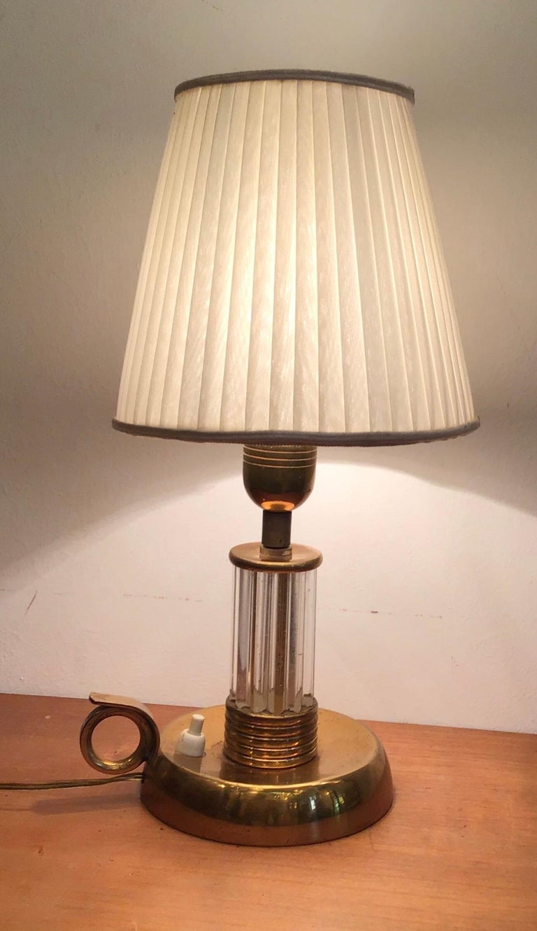 Mid-20th Century Venini Table Lamp Murano Glass Brass, 1940, Italy For Sale