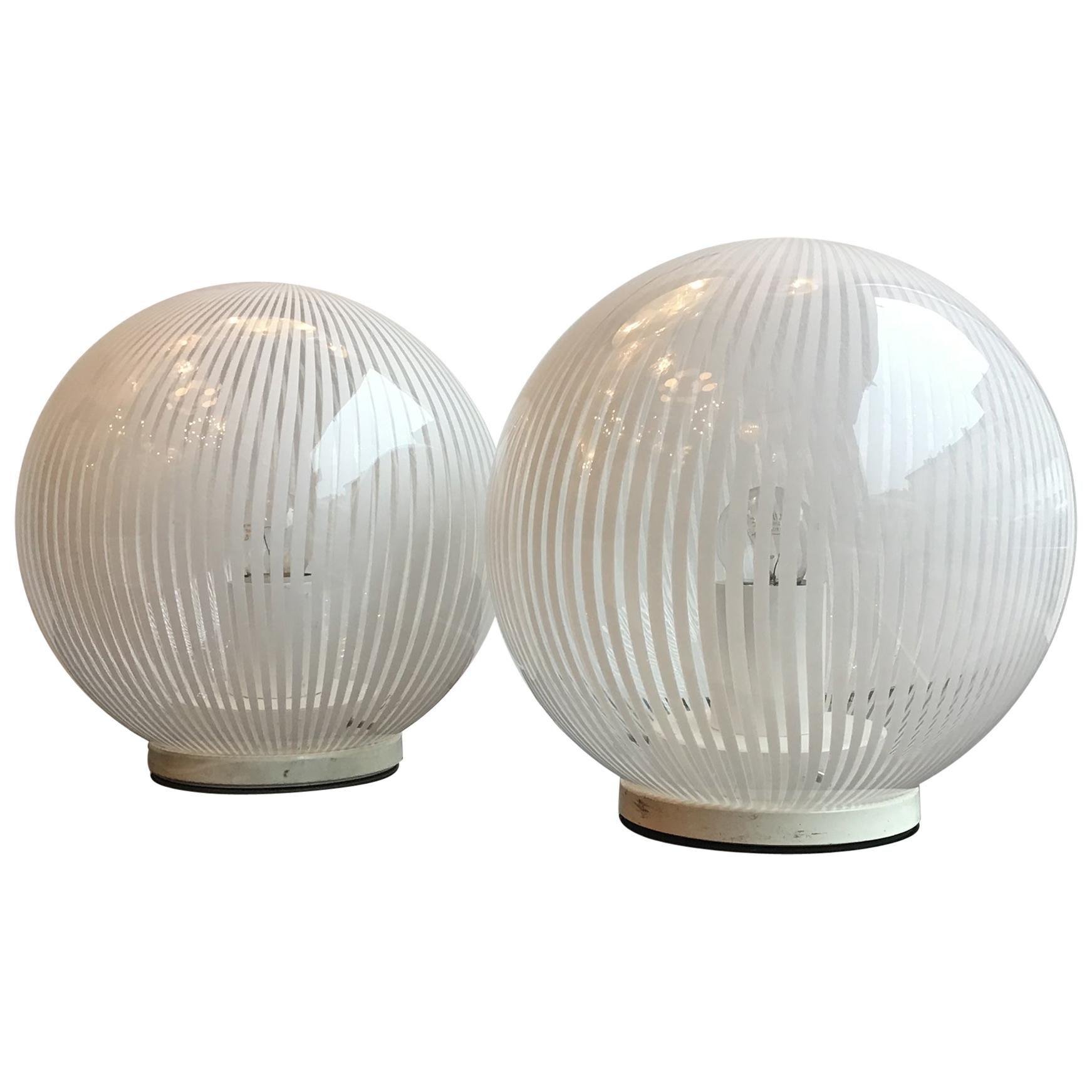Venini Table Lamps Couple Murano Glass Metal, 1965, Italy