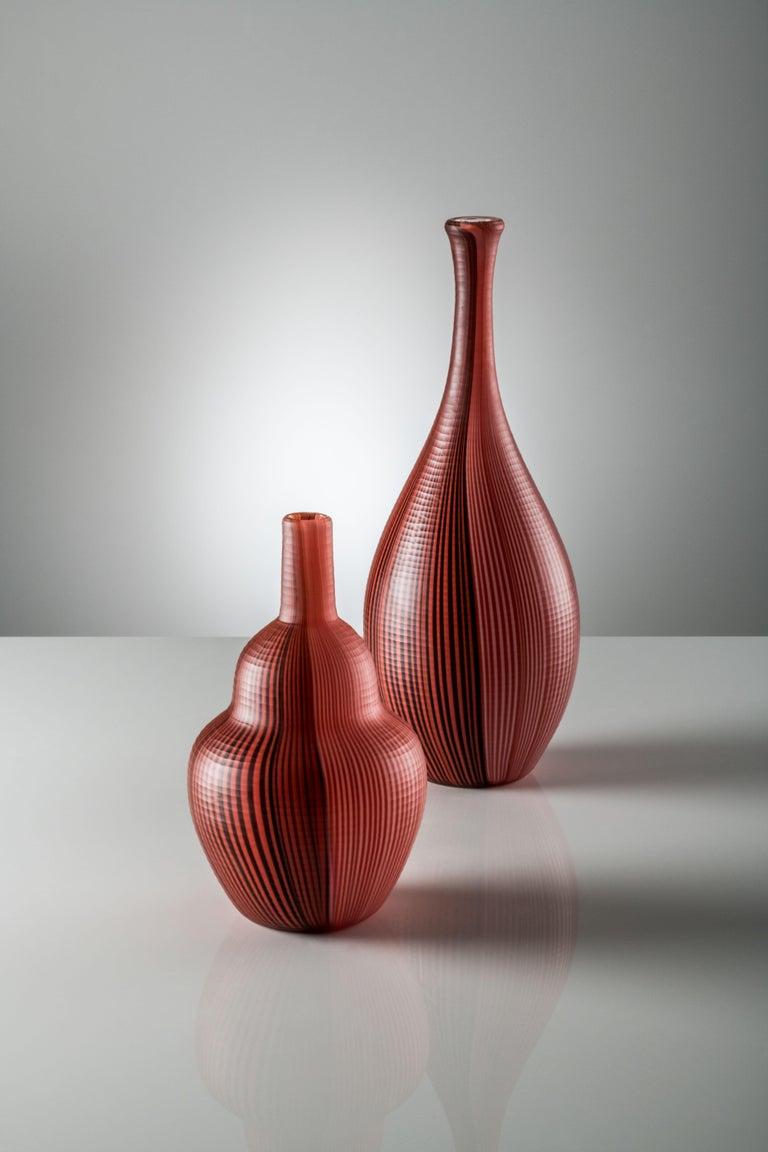 Modern Venini Tessuti Battuti Vase in Red by Carlo Scarpa For Sale