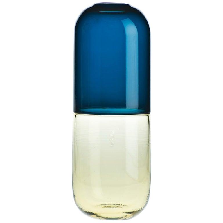 Venini Testosterone Happy Pills Vase in Horizon Blue & Yellow by Fabio Novembre For Sale