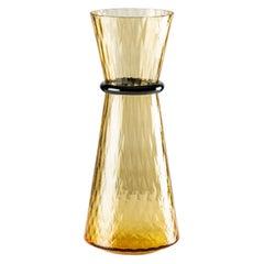 Venini Tiara Large Vase in Amber and Horizon Murano Glass