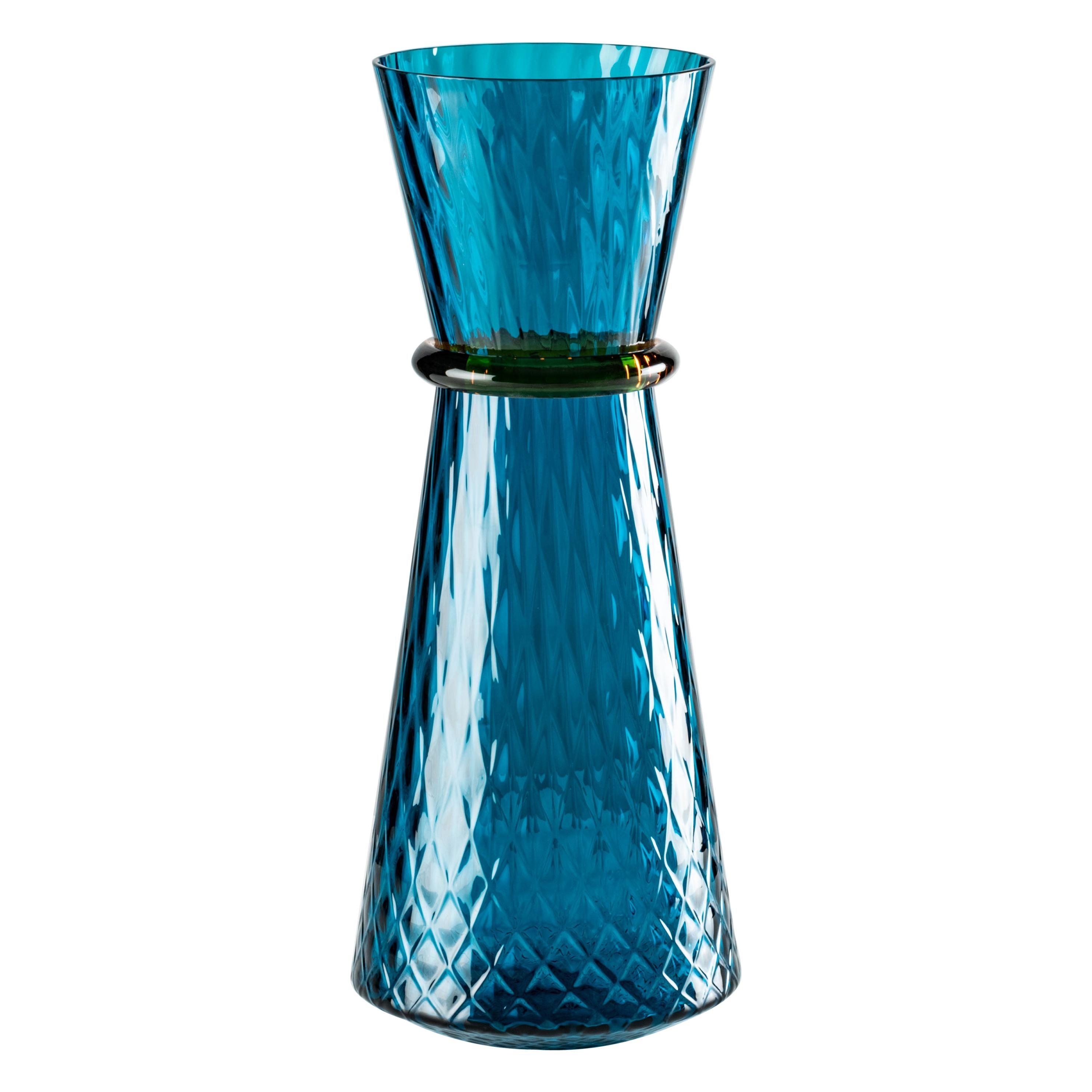 Venini Tiara Large Vase in Horizon and Amber Murano Glass