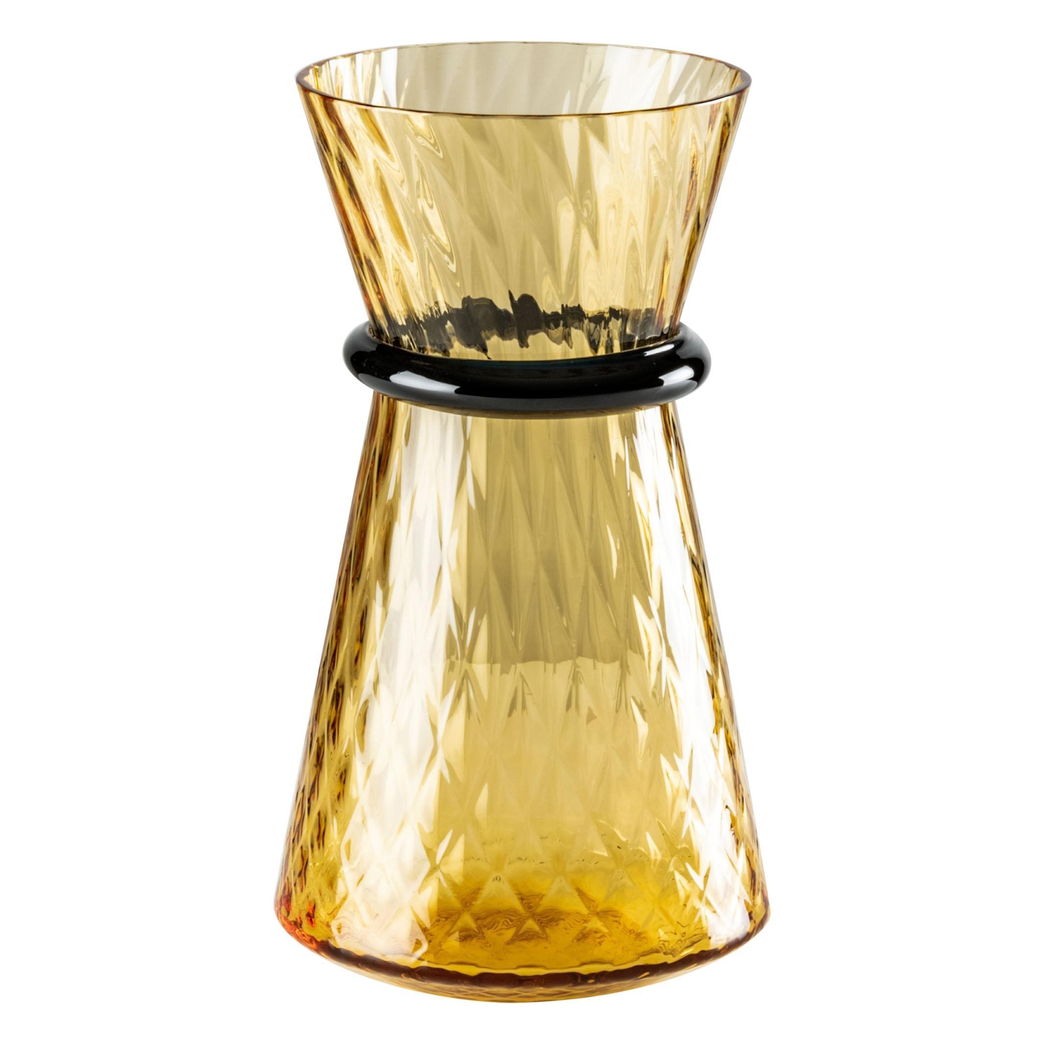 Venini Tiara Small Vase in Amber and Horizon Murano Glass