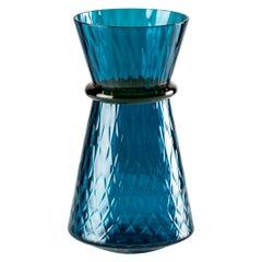 Venini Tiara Small Vase in Horizon and Amber Murano Glass