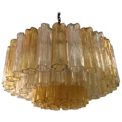 Venini Tonchi 3-Tier Amber and Clear Chandelier