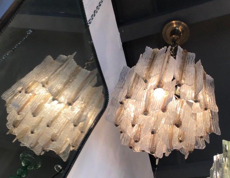 VeniniTony Zuccheri chandelier Murano glass brass 1950 Italy.