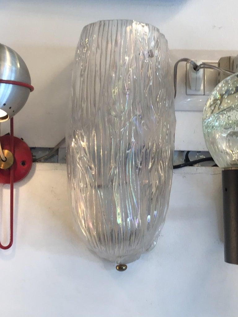 Mid-20th Century Venini Toni Zuccheri Sconces Murano Glass Brass, 1950, Italy For Sale
