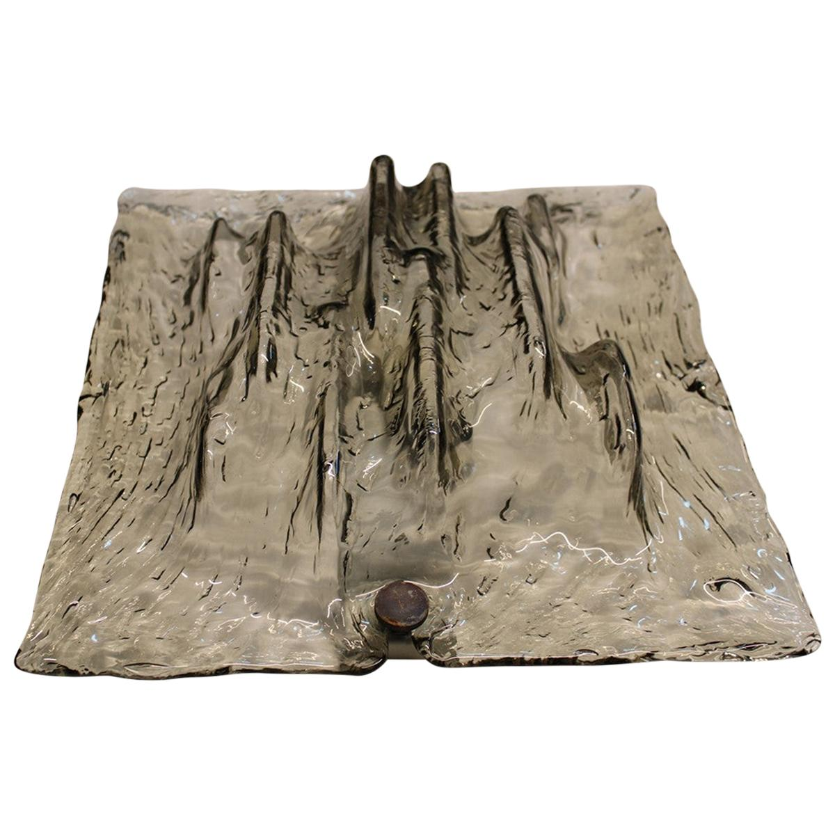 Venini Toni Zuccheri Wall Sconces Sculptural Murano Glass Italian Design Square