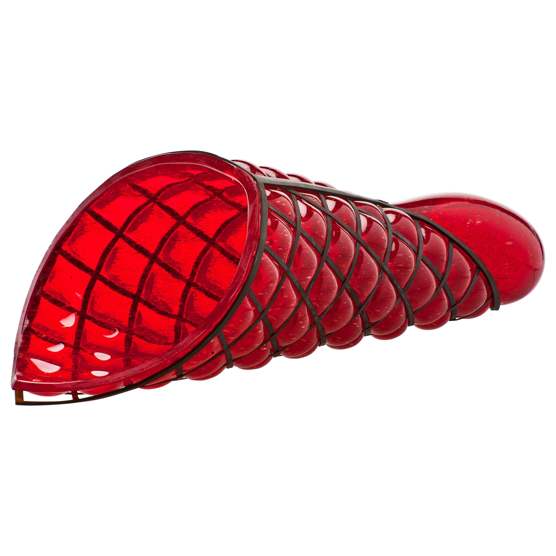 Venini Torto Sculpture in Red Glass by Gae Aulenti