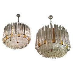 Venini Triedi Couple Chandeliers Brass Glass 1960 Italy