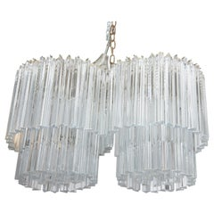 Venini Two-Tier Double Chandelier with Glass Triedri Prisms