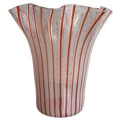 Venini Vase Filigrana Murano Glass, 1930, Italy