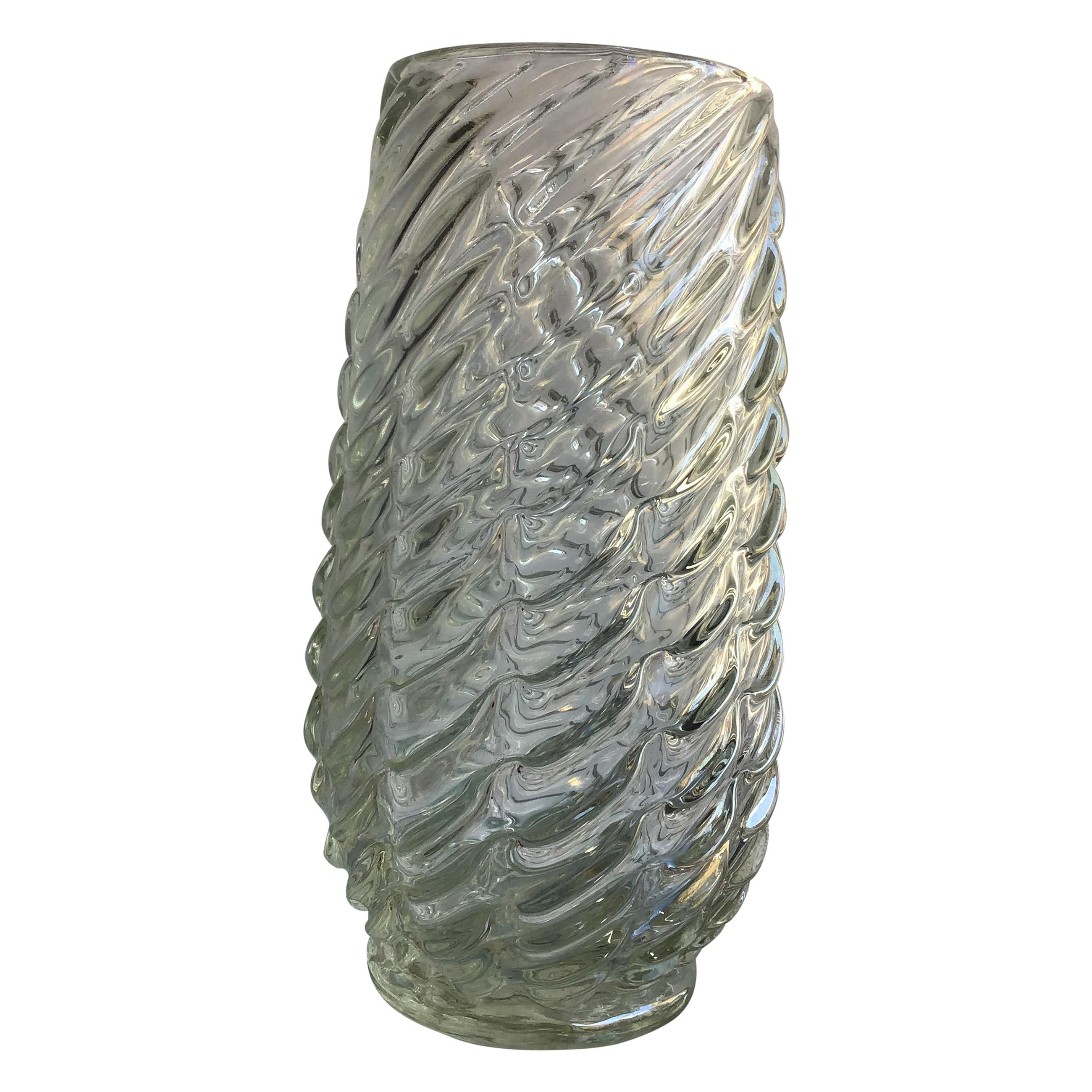 Venini Vase Iridescent Murano Glass, 1940, Italy