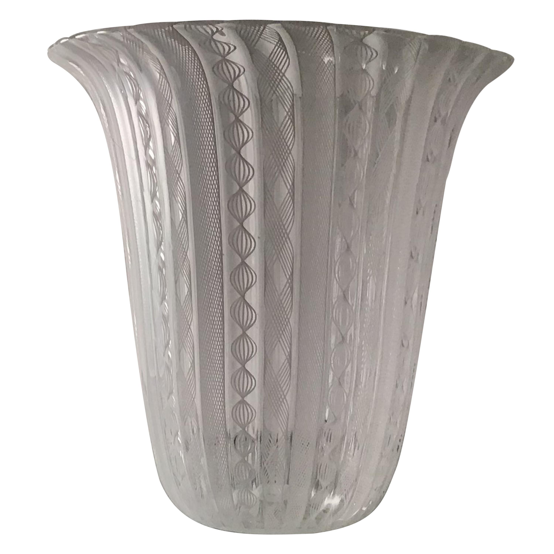 "Venini Vase ""Zanfirico"" Murano Glass 1950 Italy"