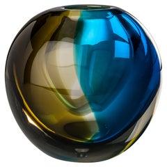Venini Venezia Round Vase in Brown and Blue Glass