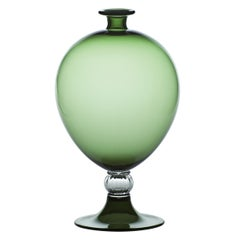 Venini Veronese Glass Vase in Apple Green and Crystal by Vittorio Zecchin