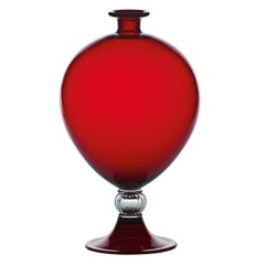 Venini Veronese Glass Vase in Red and Crystal by Vittorio Zecchin