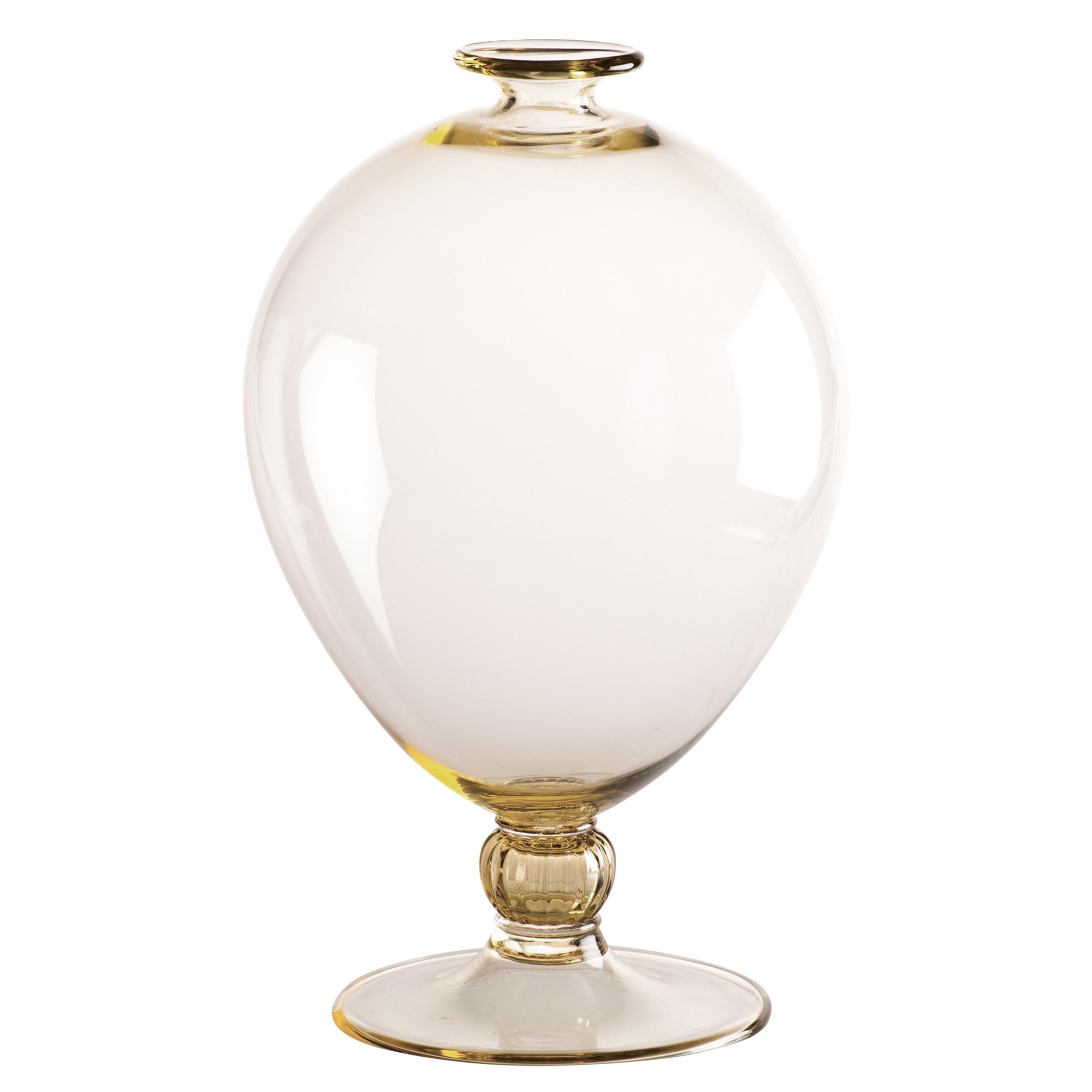 Venini Veronese Glass Vase in Straw and Crystal by Vittorio Zecchin