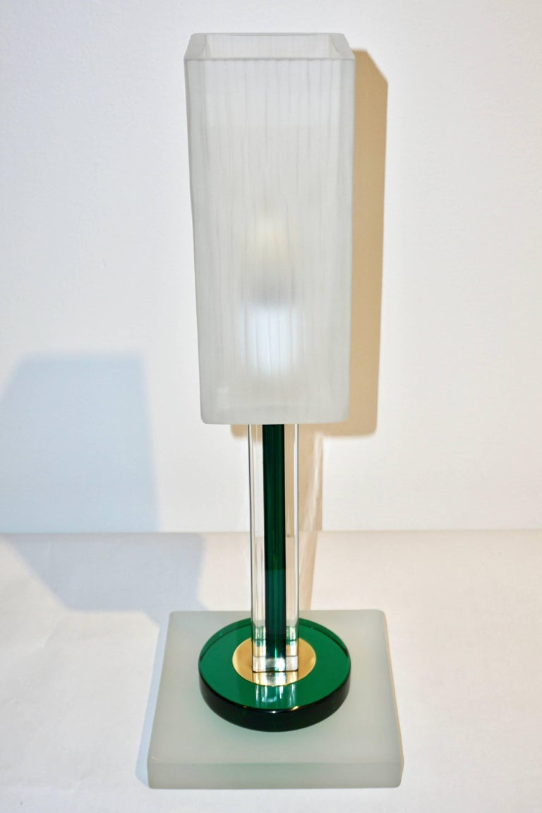 Venini Vintage Green Pair of Table Lamps with White Frosted Murano Glass Shades For Sale 3