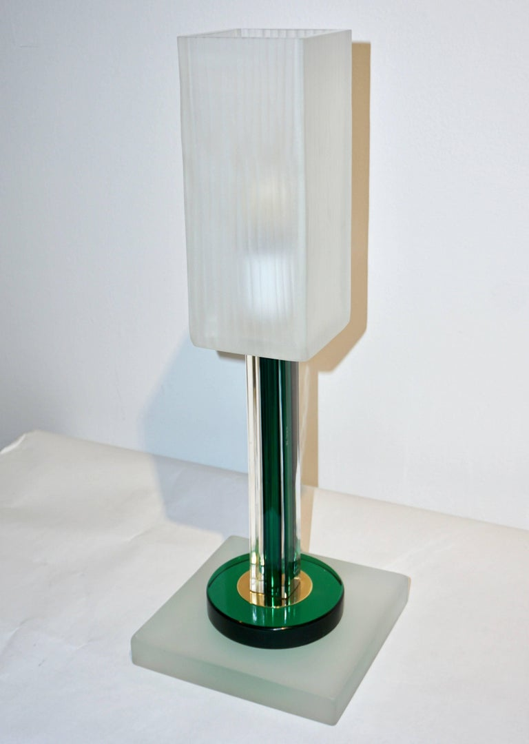 Venini Vintage Green Pair of Table Lamps with White Frosted Murano Glass Shades For Sale 4