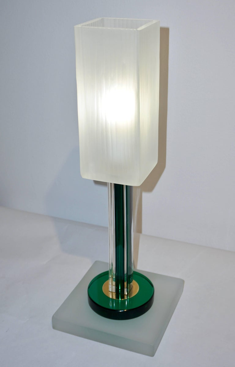 Organic Modern Venini Vintage Green Pair of Table Lamps with White Frosted Murano Glass Shades For Sale