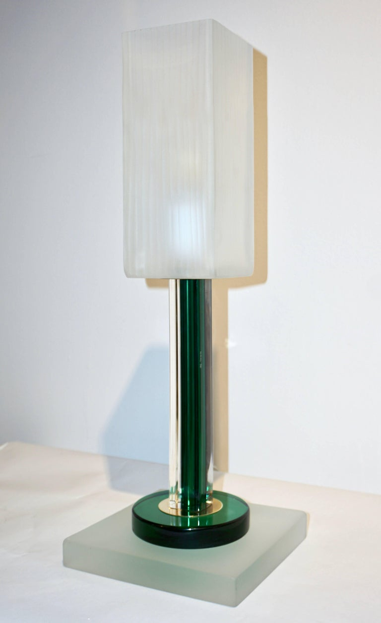 Venini Vintage Green Pair of Table Lamps with White Frosted Murano Glass Shades For Sale 1