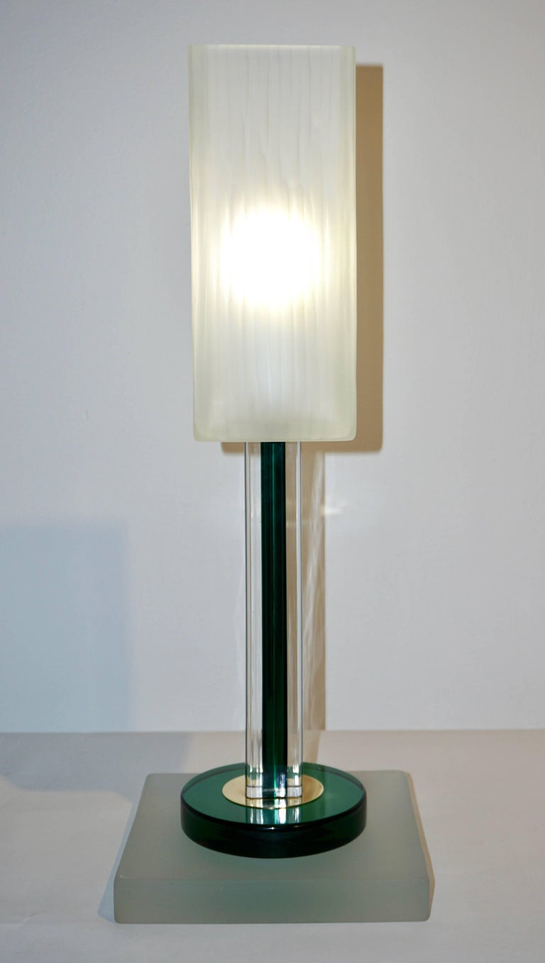 Venini Vintage Green Pair of Table Lamps with White Frosted Murano Glass Shades For Sale 2