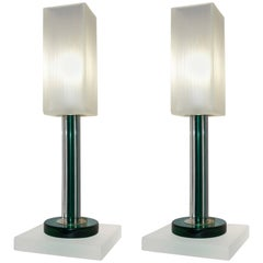 Green glass table lamps 500 for sale on 1stdibs venini vintage green pair of table lamps with white frosted murano glass shades aloadofball Image collections