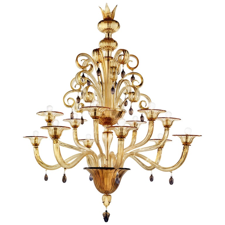 Venini Vittoriale 12-Light Chandelier in Amber Glass by Napoleone Martinuzzi For Sale